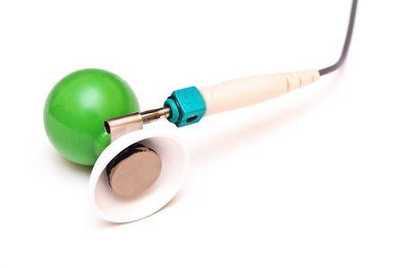 sensing: ECG cardio monitor sensing elements isolated on white background
