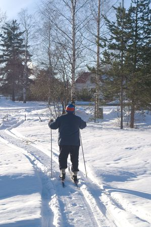 Senior man enjoys cross-country skiing
