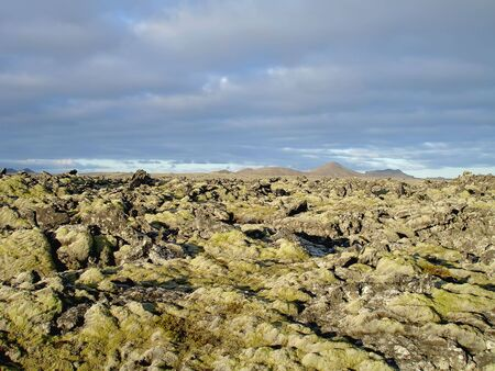 Extreme volcanic terrain in icelandic Blue Lagoon area near Reykjavik.  Stock Photo