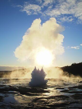 Geyser Strokkur in icelandik Geysir area starts erupting