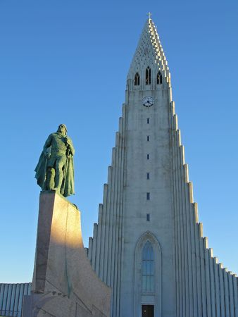 Hallgrimskirkja. The highest church in Reykjavik, Iceland. In front of the church theres a monument to the viking Leifur Eiriksson