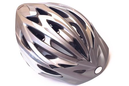 Grey bicycle cross country plastic helmet isolated on white Stock Photo