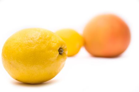 Ripe juicy grapefruit and lemon isolated