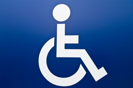 personas discapacitadas: Firmar Disablede blanco sobre fondo azul