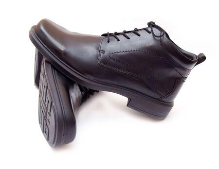 Pair of elegant black mens shoes islated Stock Photo