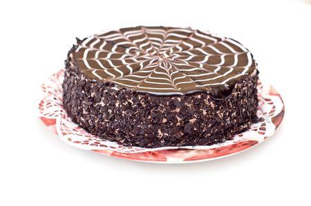 Tasty chocolate cake on a plate