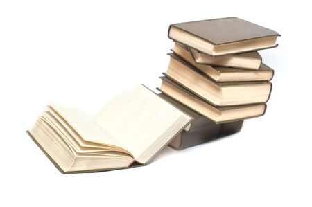 Books stack isolated on white background photo