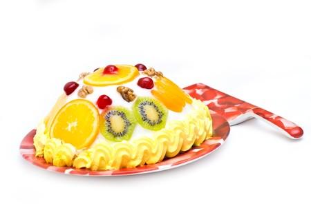jam tarts: Tasty cream fruit cake isolated