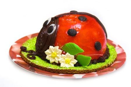 tort: Ladybird cake isolated against white background Stock Photo