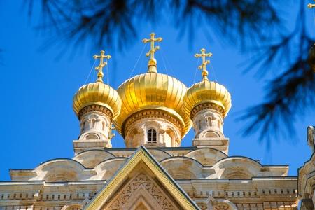 mount of olives: Cupola of Maria Magdalena church in Jerusalem