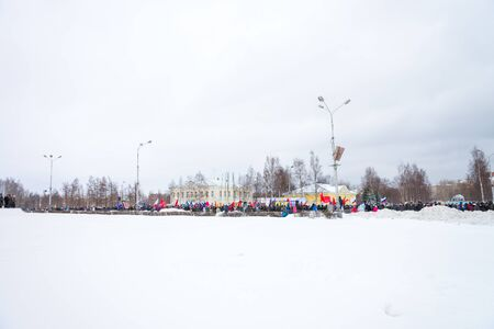 PETROZAVODSK, RUSSIA, MARCH 16, 2014: Russian people protest against war in Crimea and support democracy in Crimea. Today Crimea votes in referendum on whether to rejoin Russia or stay with Ukraine.