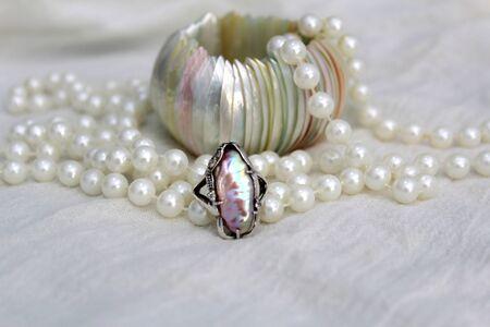 Focused Pearl Ring Stok Fotoğraf