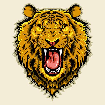 怒っているライオン ヘッド  イラスト・ベクター素材