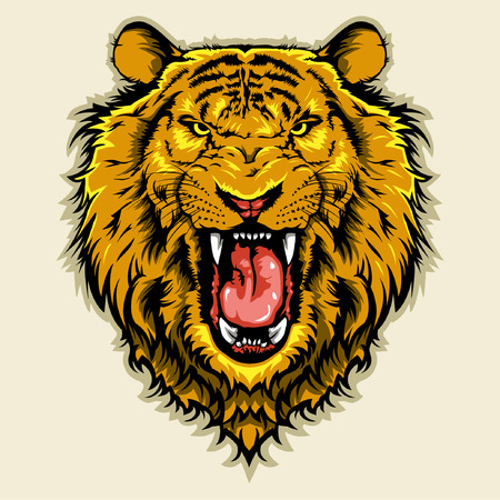 cartoon mascot: Angry Lion Head