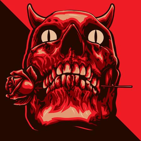 悪魔の頭骨のロマンス  イラスト・ベクター素材