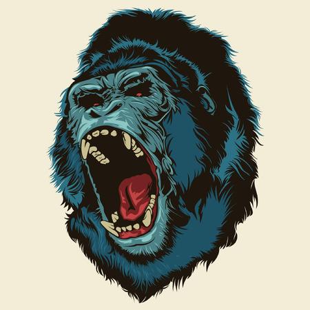 gorila: Angry cabeza del gorila Vectores
