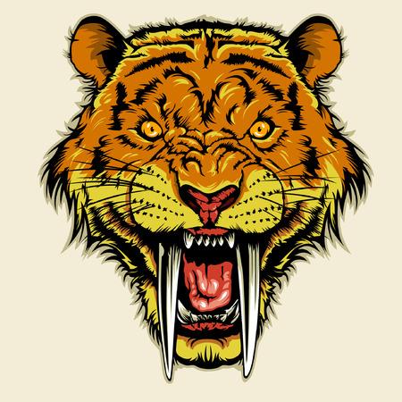Angry Sabertooth Head Imagens - 36003321