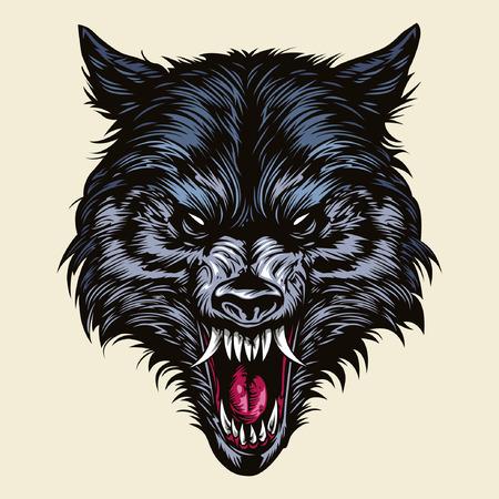 怒っているオオカミの頭