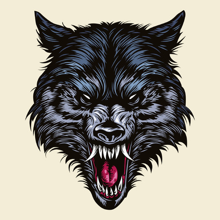 black wolf: Angry Wolf Head
