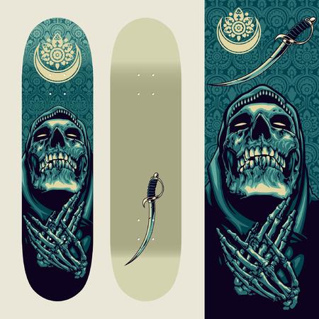 Schedel Bidden op Skatedeck Template Stock Illustratie