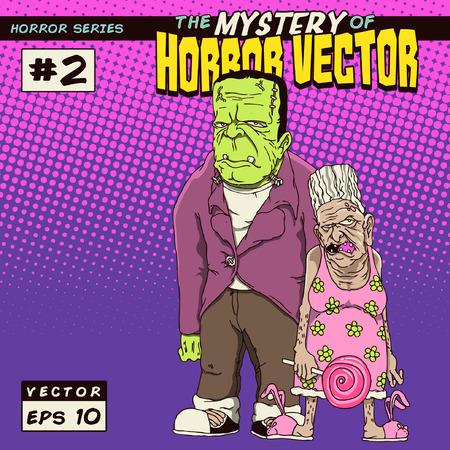 Horror monster met oma Stock Illustratie