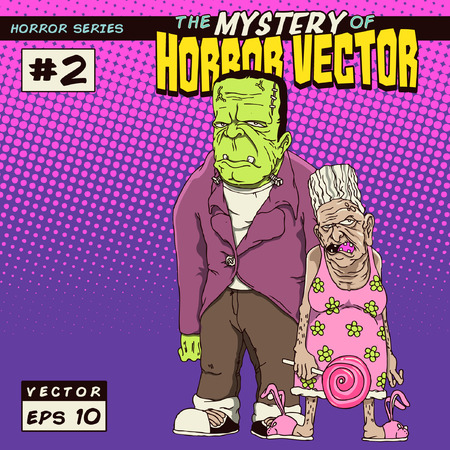 Horror monster with grandmother Vector