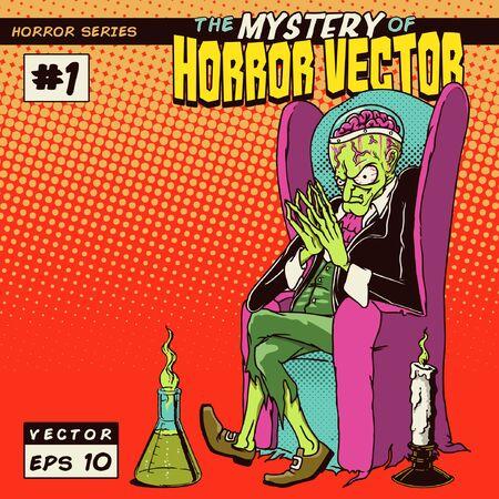 의자에 앉아 공포 과학자 괴물