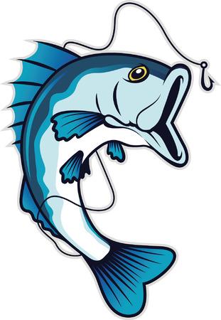 물고기는 미끼를 잡으려고 점프 일러스트