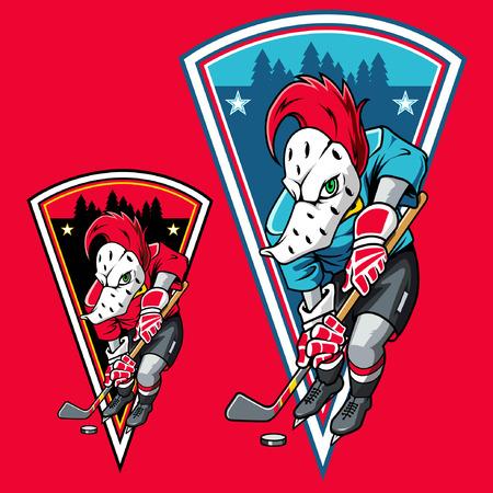 Woodpecker Ice Hockey Ilustracja