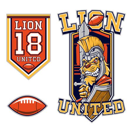 American Football Lion Gladiator Mascot Ilustração