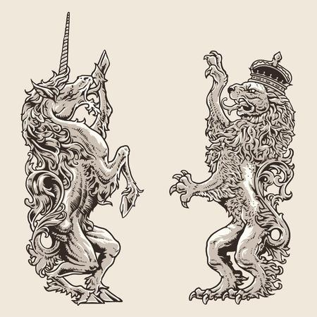 undomesticated cat: Heraldic Horse And Lion