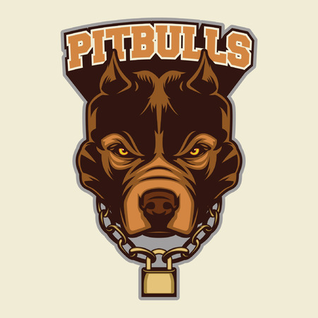 black and white pit bull: Pit Bull Head Mascot