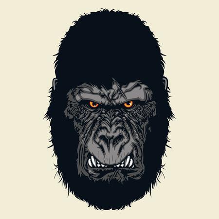 怒っているゴリラの頭