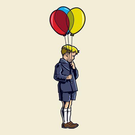 een jongen met ballonnen Stock Illustratie