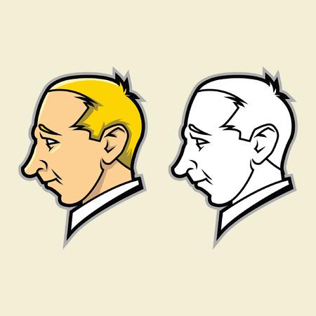 receding jaw face Illustration