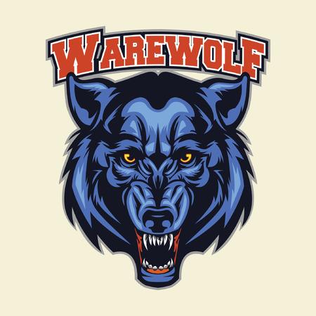 head of animal: werewolf head mascot Illustration