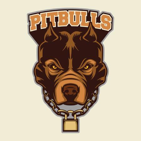 angry bull: Pit bull Head Mascot