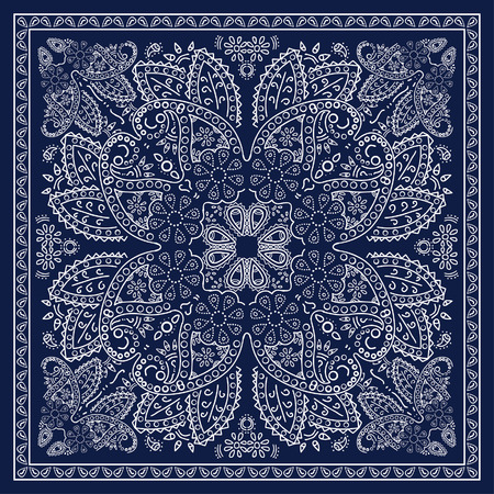 motif floral: Bandana bleu