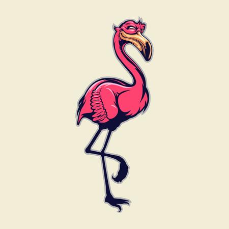 standing flamingo mascot
