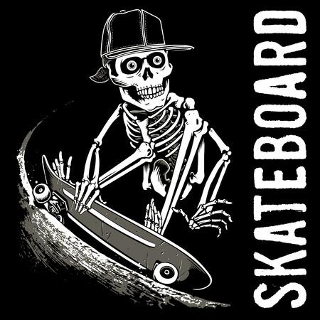 Schedel Skateboard Stock Illustratie