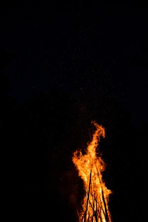 Midsummer night. bonfire fire ritual of Ivana Kupala Stock Photo