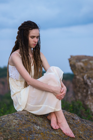 Beautiful girl with dreadlocks Banco de Imagens