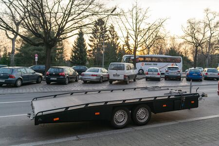 The trailer for transporting cars is not loaded. Berlin, Germany. February 19, 2019.