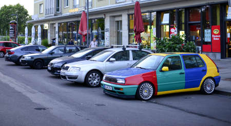 Googleplex. Dresden, Germany. August 29, 2018. Google Mobile. Bright multi-colored parked car
