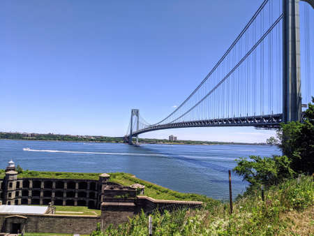 Verrazano bridge connecting Brooklyn to Staten Island on a nice sunny day