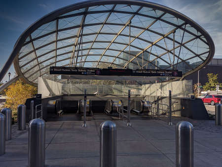 View of an entrance to the 7 train in 34th street Hudson Yards Station