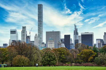Central Park with a view of trees and skyscrapers in the background