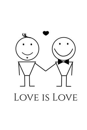 Vector design of men couple in love holding hands. Love is love. LGBTQ acceptance concept