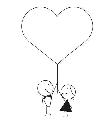 Vector design of a newly married couple in love holding heart shaped balloon.