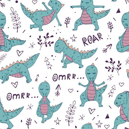 Dinosaur in yoga asanas, hand drawn vector seamless pattern Illustration